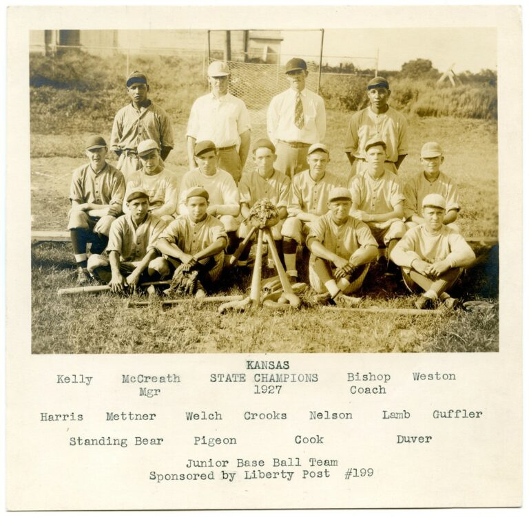 Kansas 1927 State Champions Junior Baseball Team Photo